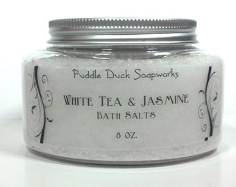 White Tea and Jasmine Bath Salts with Mediterranean Spa Salts - Purest Salt in the World, 8 oz..