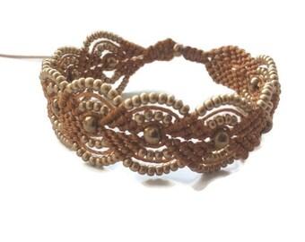 Bronze micro macrame bracelet