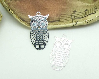 Set of 4 prints Mini 20 * 10 mm clear - silver OWL charms
