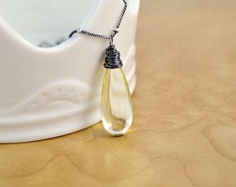 Lemon Quartz Necklace, Smooth Pale Yellow Lemon Quartz Drop Wire Wrapped Pendant on Oxidized Sterling Silver Station Chain, Silver Necklace