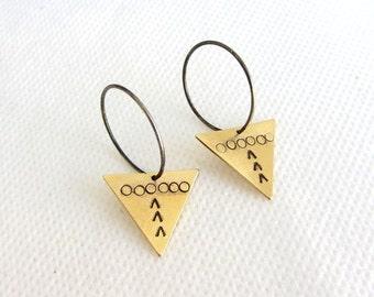 Triangle earrings - hoop earrings - sterling silver hoops -  medium hoop earrings - geometric earrings - Ethnic earrings, Gift ideas for her