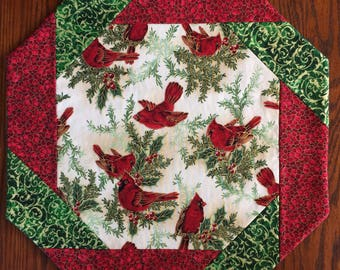Cardinals Table Topper,  Octagonal, Soaring Cardinals, Christmas Table Decor, Winter,  Cardinals Bordered  With  Red and Green  Table Decor
