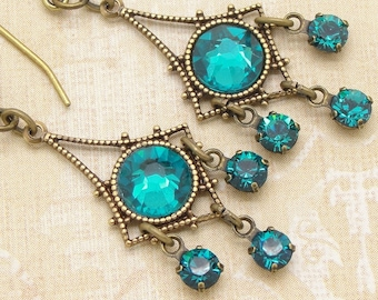 Tiny Chandelier Earrings with Blue Zircon Swarovski Rhinestones
