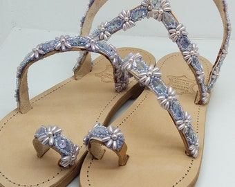 Leather Sandal Bead with pearls