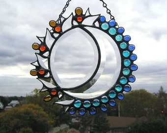 Stained Glass Art Sun & Moon Stained Glass Celestial Suncatcher Art and Collectibles Glass Art Suncatchers Handcrafted Made in USA