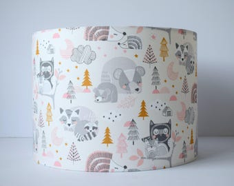 Fabric lampshade etsy pink woodland fabric lampshade pink and grey nursery decor girl woodland nursery lampshade ceiling aloadofball Images