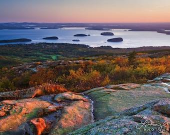 "Maine Wall Art - Fall Decor   ""Bar Harbor Sunrise""   Acadia National Park Photo - Cadillac Mountain View - Bar Harbor Print - Maine Coast"