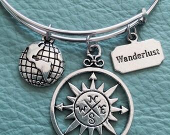 Travel Wanderlust Silver Charm Bracelet Inspired by Compass, Globe, Trip, Navigation, Globe Trotting, Trek, Expedition, Explore, Traveler  3