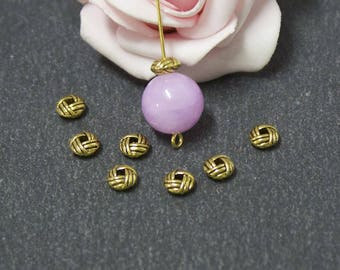 x 40 beads round and flat knot brass 6 x 3.2 mm PMD02