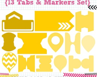 13 Tabs & Markers SVG DXF cut files