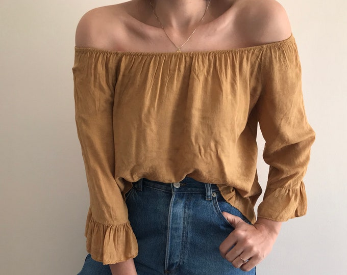 Vintage Off-Shoulder Jacquard Top