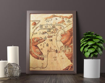 Medieval City Map of Rome from 1469 -  Roman map SPQR - Antique Roma map - Vintage replica of Rome
