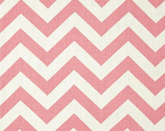 Baby Pink Chevron, Premier Prints Light Pink and White Premier Prints ZigZag Cotton Duck Fabric, Fabric by the yard