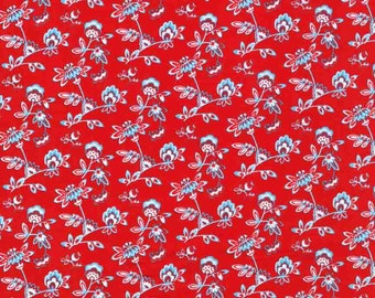 Red floral quilting cotton fabric by the yard, 100% cotton, small print calico fabric by Paula Prass. Need more fabric yardage? Just ask.