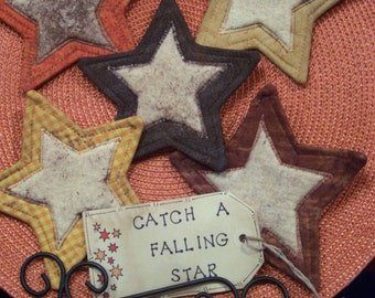 Primitive Country FALL STARS Fabric Coasters Mug Mats Ornies Scatter Mats