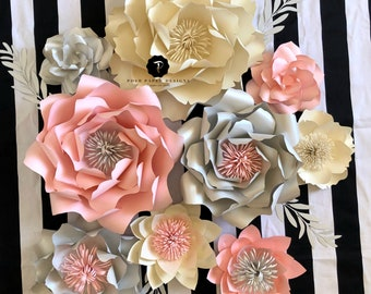 Paper flower backdrop, Nursery decor, Nursery paper flowers, Champagne and silver paper flowers.First birthday photo prop, birthday photo.