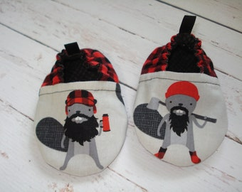 BABY SHOES - Burly Beavers in Red
