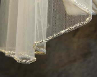 1T beaded veil, minimalist new design high quality bridal veil, crystal veil, wedding veil, white, ivory beads beaded veil