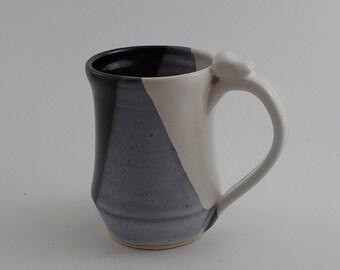 Stoneware Coffee Mug - Ceramic Drinking Vessel - Handmade - Wheel Thrown - Black and White - Mom Dad or Grad Gift - Ready to Ship  m266