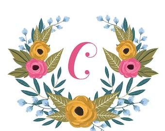 Initial Floral Print *Customizable