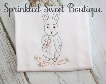 Vintage Bunny Boys Baby Shirt First Easter Shirt or Romper