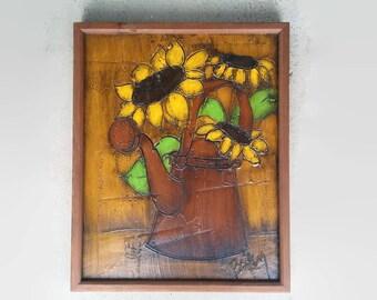 Vintage Sunflower Painting - Vintage Art - Original Art - Vintage Decor -  Wall Art - Boho Decor - Flower- Framed Art - Harvest Gold