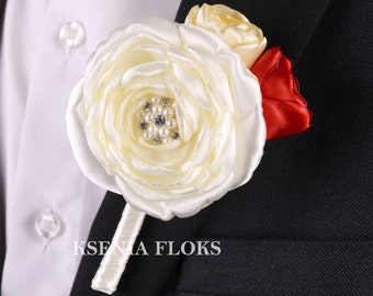 Mens Flower Boutonniere, Red and Ivory Boutonniere, Groom boutonniere, Groomsmen, Wedding Boutonniere, Peony Buttonhole, Fabric Pin