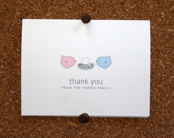 Bird Baby Thank You Cards. Baby Shower Thank You Cards. Baby Thank Yous. Personalized. Birds in Nest. (Set of 10)