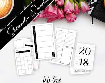 A6 TN INSERT // Q2 (April - June) >> 2018 Planner (Chic Minimalist Design) >> Week on Two Pages (W2P) Layout >> Quill & Leaf