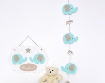 Garland deco elephant wooden (unframed) for nursery
