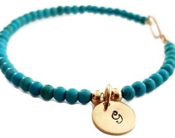 Turquoise Beaded Bracelet, Zodiac Bracelet, Good Luck Bracelet, Personalized Bracelet, Initial Charm, Turquoise Jewelry, Venexia Jewelry