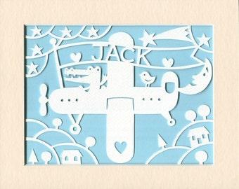 Childrens Wall Art, Personalized Airplane Papercut, Whimsical Nursery Art, Baby Boy Gift, Baby Girl Gift, Nursery Decor