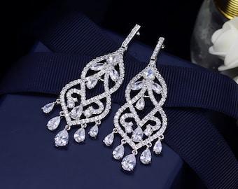 Floral Bridal earrings, Bridal post earrings, Wedding Earrings, Long Dangle Teardrop, Bridal Jewelry,  Cubic Zirconia Drops E0158