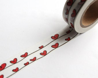 Washi Tape - Red Hearts in love - no.702 // 15mm x 10m