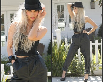 Vintage 80s High Waist Leather Pants Pleated trousers black  soft leather 2 pockets XS  S  M   Mint condition