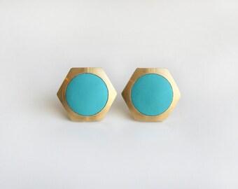 Geometric Hexagon with light blue circle stud earring