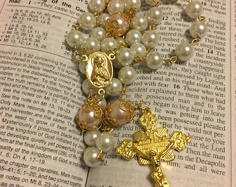 Catholic Rosary Beads - Glass Pearl 5 Decade Rosary with Gold Cross and Center