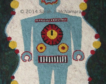 Rug Hooking PATTERN Retro Robot