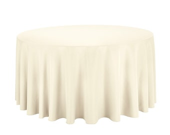 120 Inch Polyester Ivory Round Tablecloth