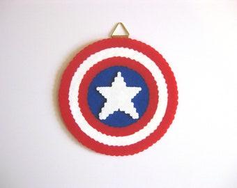 Captain America Shield Perler Bead Wall Art