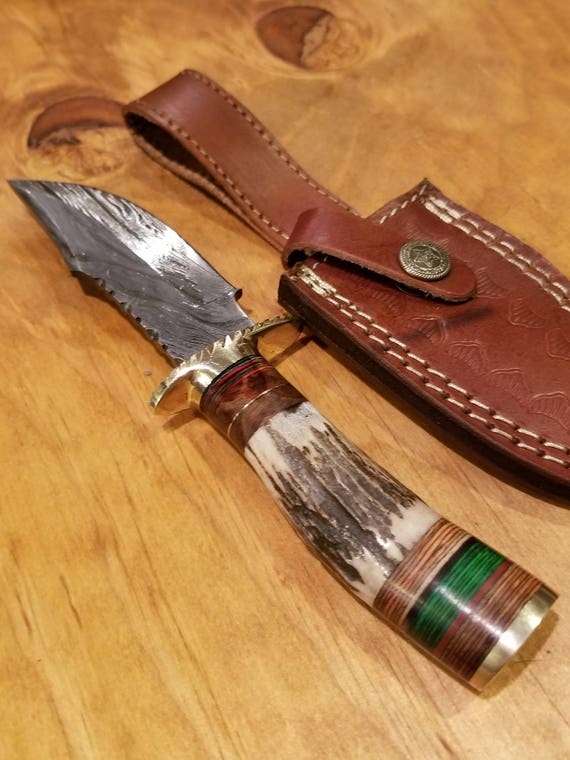 Handmade Deer Antler Handle Hunting Knife Damascus Blade Stag Collection With Leather Sheathe Premium (A155)