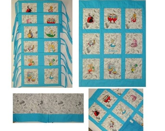 Alice in Wonderland Mini Crib Baby Bedding - Choose characters and fabrics - Payments accepted