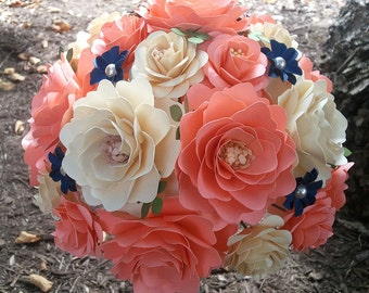 Paper Bouquet - Paper Flowers - Wedding Bouquet - Bride or Bridemaid - Coral and Ivory - Customize Your Colors - Made To Order