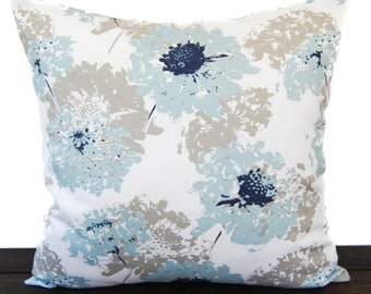 Pillow, Throw Pillow, Pillow Cover, Cushion, Decorative Pillow, light Spa Blue Putty Navy White Floral Fairy