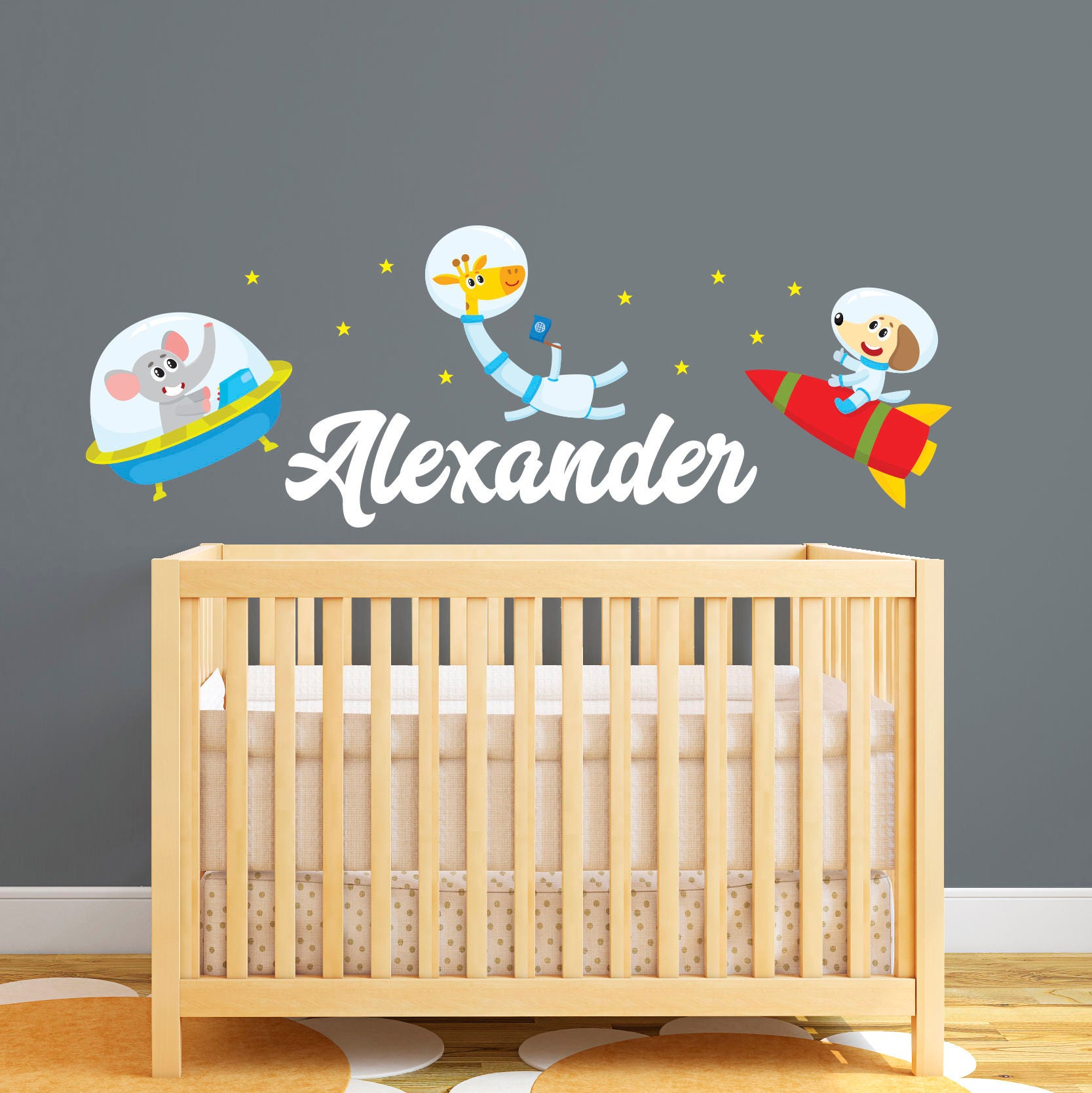 Personalized Name Wall Decal Space Wall Decal Animals in