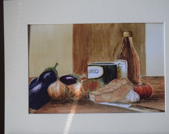 Watercolour Print of Italian Ingredients
