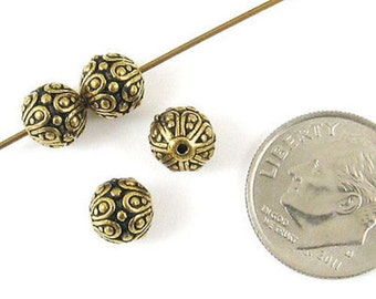 TierraCast Pewter Round Beads-ANTIQUE GOLD CASBAH (4)