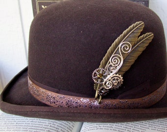 Brass Feather Hat Pin (HP600) Steampunk Design, Bronze Feathers, Silver Gears and Swarovski Crystals, Tie Tack