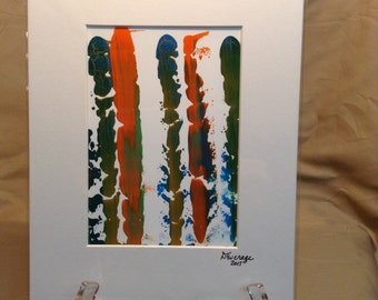 """8"""" X 10"""" Abstract Gouache painting on Yupo Paper – Matted and ready to be framed – Item # 487"""
