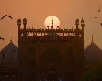 Sunset at Jama Masjid, Old Delhi, India! 11826 Print Photography Home Decor Art Scenic Photography Travel Photography Jama Masjid Art